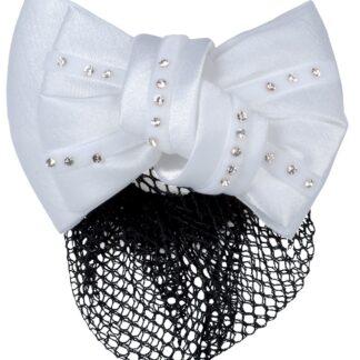 Wedstrijd accessoires Mondoni haarstrik blingbling wit